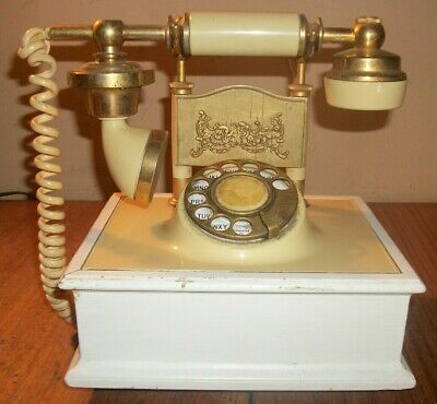 Vintage Deco Tel French Victorian Style Rotary Dial Phone Ivory & Gold