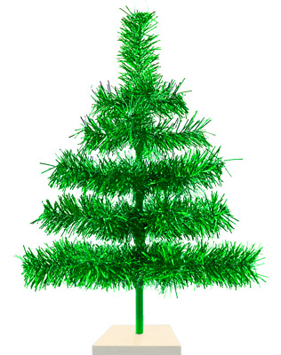 """18"""" Metallic Green Christmas Tree Tinsel Feather Style Holiday Tree 1.5FT"""