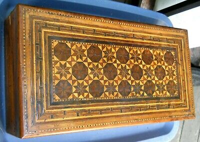 Victorian Moorish Inlaid Wood Writing Desk Traveling Secretary Document Box