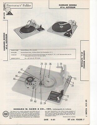 1963 Garrard At-6 Autoslim Record Player Changer Service Manual Photofact Fix