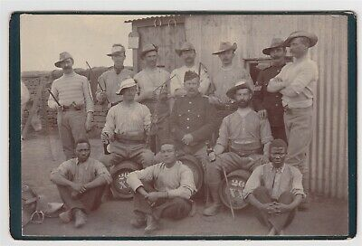 Military cabinet-BOER WAR, soldier group with black Africans and cavalry officer