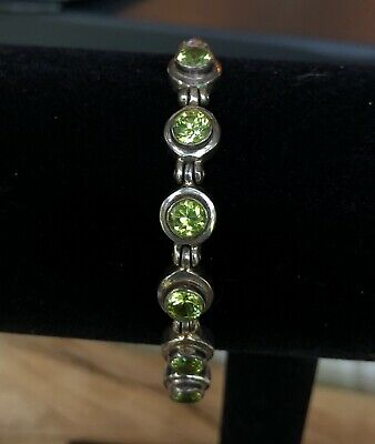 Vintage - 925 Sterling Silver - Wheat Chain Bracelet with Round Faceted Peridots