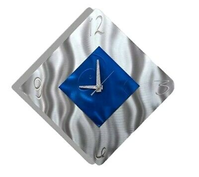 Silver Blue Metal Wall Clock Sculpture Hanging Art Modern Accent Decor Jon Allen