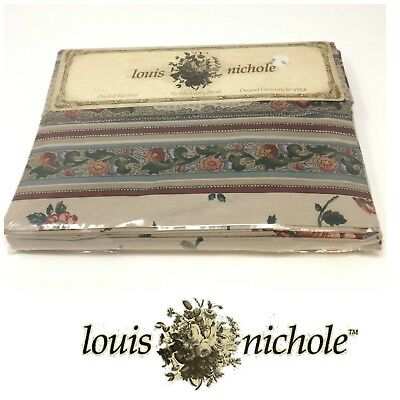 "Vtg NOS Louis Nichole ""Dubonnet"" Full Flat Sheet Shabby Chic Floral New Sealed"