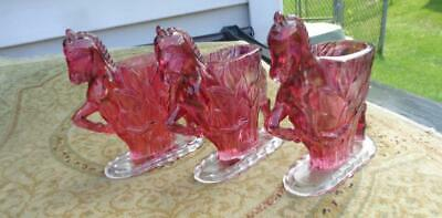 "3 Small Horse Planter  Purple  / Red Glass  4x1.5x5""  Vintage  Very Clean"
