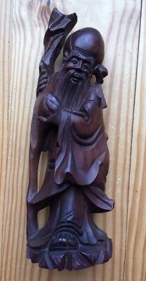 Antique Vintage Hand Carved Wood Wooden Asian Chinese Figurine Statue Old Man