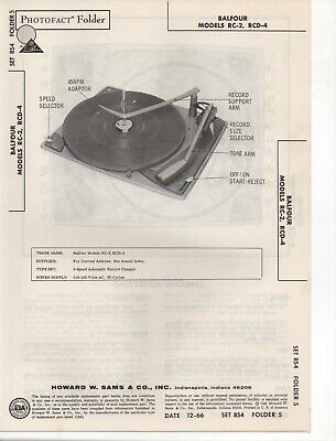 1966 Balfour Rc-2 Rcd-4 Record Player Changer Service Manual. Photofact Diagram