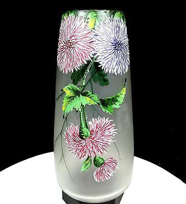 "ART NOUVEAU SATIN GLASS HANDPAINTED ENAMEL FLORAL 9 1/2"" VASE 1920's"