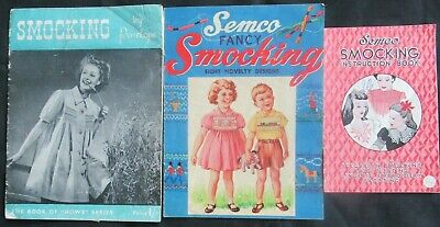 Vintage 3 SMOCKING booklets with instructions and patterns Semco, Penelope