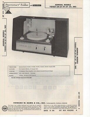 1966 Admiral Yg1027 Record Player Changer Amplifier Service Manual Photofact ++