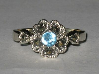 Aquamarine Ring 925 SZ 10 Blessed Connect & Receive Messages From Angels Channel