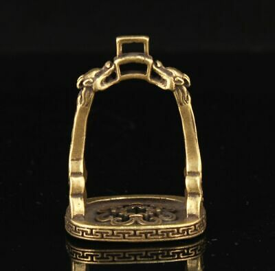 CHINESE OLD Hand-carved Antique Pure Copper Brass Stirrup Statue Ornaments