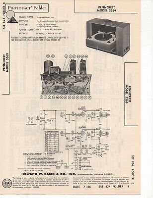 1966 Penncrest 5569 Record Player Changer Amplifer Service Manual Photofact Fix