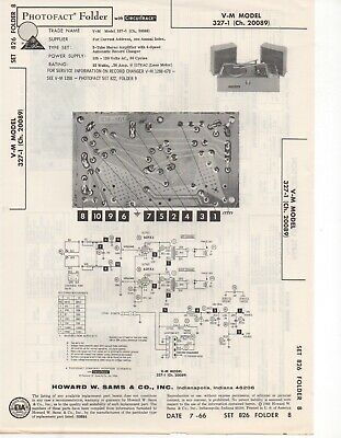 1966 V-M 327-1 Record Player Changer Amplifier Service Manual Photofact Repair