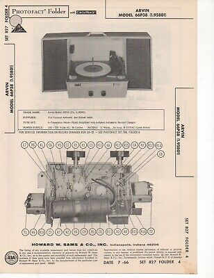 1966 Arvin 66P38 Record Player Changer Amplifier Service Manual Photofact Fix