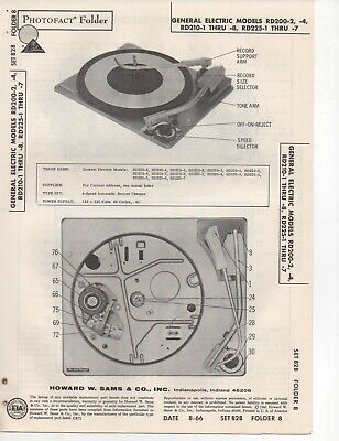 1966 General Electric Rd200-2 -4 Record Player Changer Service Manual Photofact