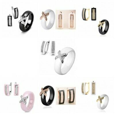 Stainless Steel Jewelry Set Ceramic Ring And Earrings Black White Cubic Zirconia