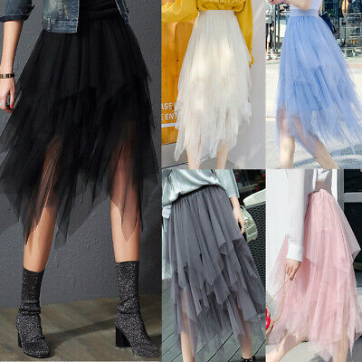 Women Ladies High Waist Tulle Tutu Skirt Elastic Mesh Net Solid Layered Dress AU