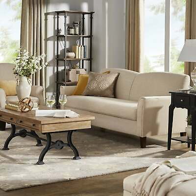 Copper Grove Nice Beige Channel-back Sofa with Flared Arms