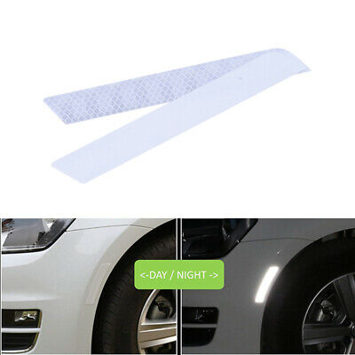 2pcs White Reflective Cycling Safety Warning Car Rear Wheel Decal Tape Sticker