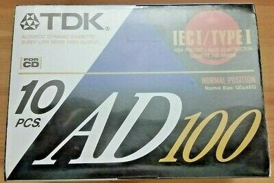 TDK AD100 - Sealed 10 Pack Blank Cassette Tapes Normal bias  BRAND NEW SEALED