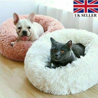 UK Pet Dog Cat Calming Bed Warm Soft Plush Round Cute Nest Comfortable Sleeping!