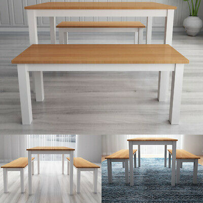 Pine Solid Wood Kitchen Dining Table with 2 Benches Set Desk For 4~6 People