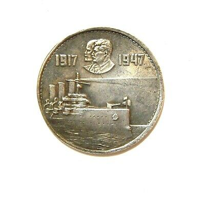 1 Ruble 1947***Lenin***Stalin***Soviet Union***Ussr***Exonumia Silvered Coin
