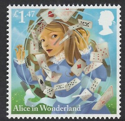 Alice In Wonderland - A Pack Of Cards Illustrated On 2015 Unmounted Mint Stamp