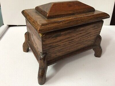 Vintage Solid Wood Oak Trinket Container Box On Cabriole Legs