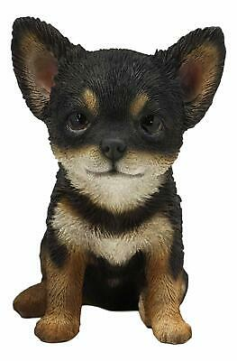 "Lifelike Adorable Chihuahua Dog Puppy Sitting Statue 6.25""H With Glass Eyes"