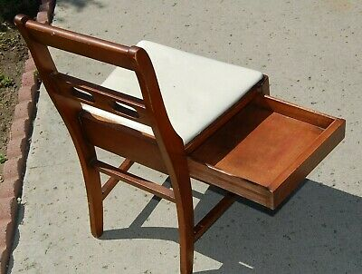 Vintage Sewing Machine Chair with Drawer Storage Mid Century MCM 50's 60's