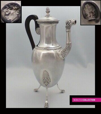 RARE ANTIQUE 1820 FRENCH STERLING/SOLID SILVER COFFEE POT Empire Paris 1819-1838