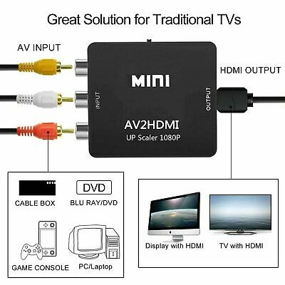 RCA to HDMI Converter Composite AV CVBS Video Adapter 720p 1080p Wii NES SNES