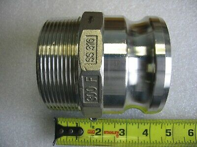 """3"""" Male NPT X 3"""" Male Camlock Cam & Groove Adapter 316 Stainless Steel 300-F"""
