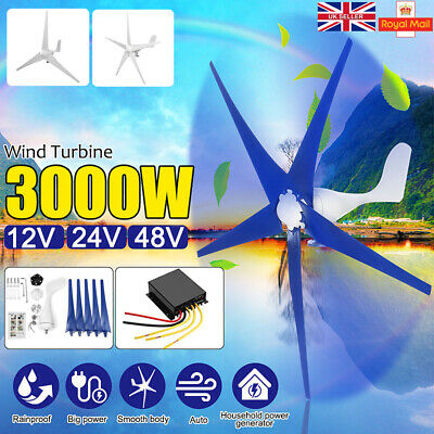 3000W DIY Wind Turbine Generator 12/24/48V 3/5 Blades Charge Controller 2 Colors