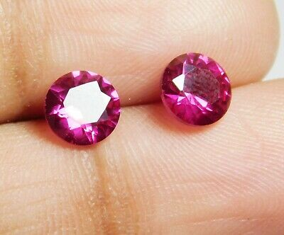 2.00 Cts Natural Round Cut Blood Red Ruby Pair Of 2 Of Earrings Lot 219