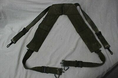 US Military Issue Vietnam M1956 Canvas Pistol Belt H Suspenders Large Long A12