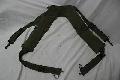 US Military Issue Vietnam M1956 Canvas Pistol Belt H Suspenders Large Long A13