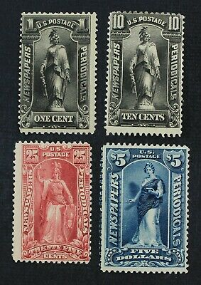 CKStamps: US Newspaper Stamps Collection Scott#PR114/PR121 H OG, 10c Part Gum