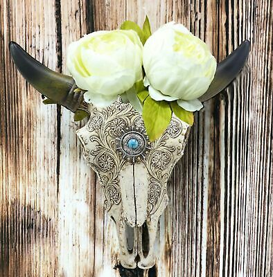 Southwest Steer Bison Bull Cow Horned Lace Tooled Skull Head Wall Vase Decor