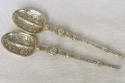 A Superb Pair Of Solid Sterling Silver Gilded Anointing Spoons London 1936.