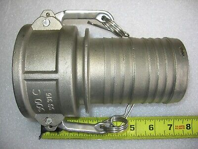 """3"""" Hose Barb X 3"""" Female Camlock Cam & Groove Adapter 316 Stainless Steel 300-C"""