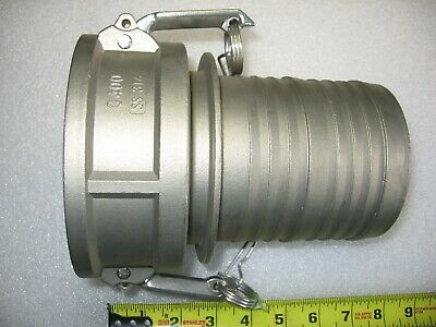"""4"""" Hose Barb X 4"""" Female Camlock Cam & Groove Adapter 316 Stainless Steel 400-C"""