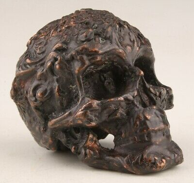Sacred Chinese Red Copper Statue Skull Exorcism Mascot Collection Gifts