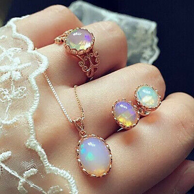 18k Rose Gold Filled Opal Pendant Necklace Ring Earrings  Engagement Jewelry