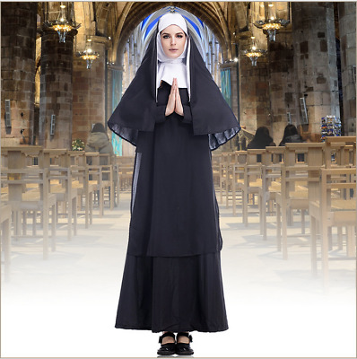 Christian Clergy Robe Cape Nun Outfit Halloween Cosplay Costume Medieval