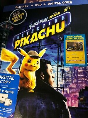 Pokemon: Detective Pikachu (Blu-ray, DVD, Digital) w/Slipcover, NEW