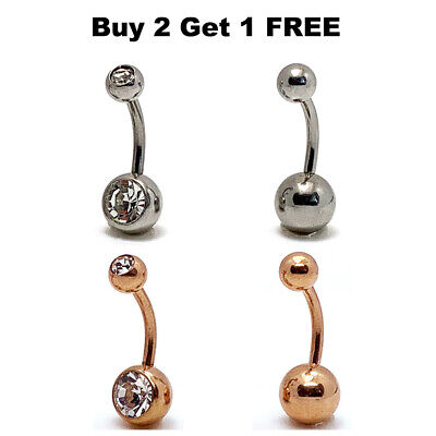 Belly Button Bars Navel Bar Rings Double CZ Gem Silver Rose Gold Body Jewellery