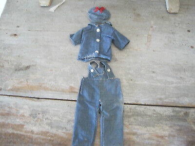 Old Primitive Rag Overall Top and Cap Blue  Denim Fabric Hand Stitched American